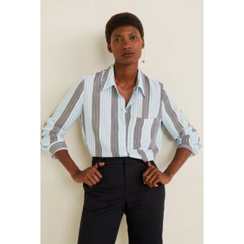 Women's Blue Pockets Draped Shirt 51013711