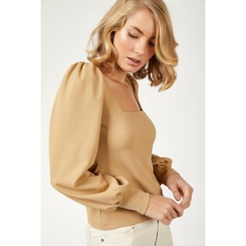 Women's Camel Balloon Sleeve Lycra Crep Blouse BL00088