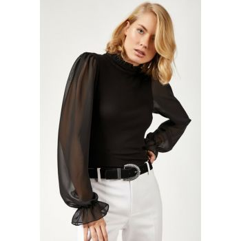 Women's Black Collar And Lace Ruffle Detail Lycra Blouse BL00090