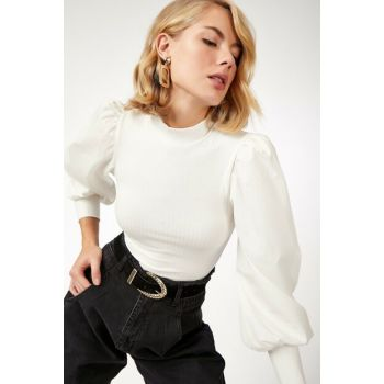 Women's White Balloon Sleeve Turtleneck Viscose Blouse SM00109