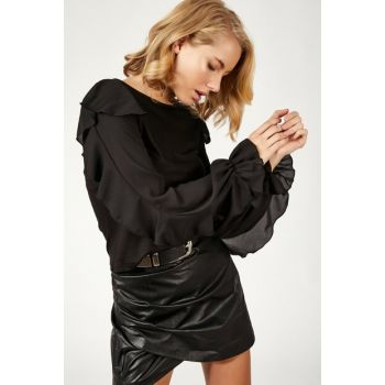 Women Black Handle Chiffon Sweater Blouse FN01779