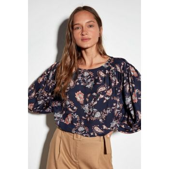 Women's Navy Blue Printed Blouse 9WM907Z8