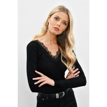 Women Black Front Back V Ruched Blouse LPP5016