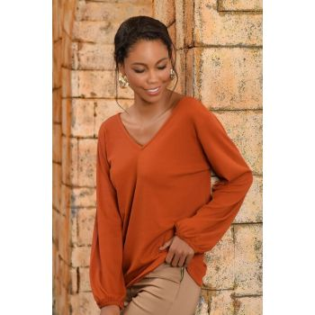 Women's Cinnamon Front Back V-neck Sweater Blouse ALC-017-166-NE