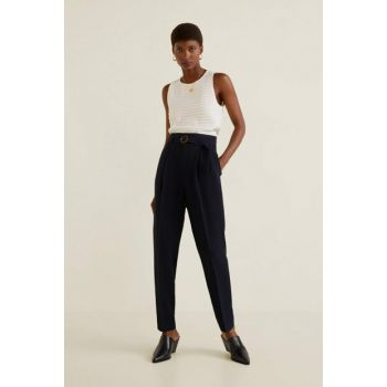Women's Navy Blue Belt Straight Trousers 51033705