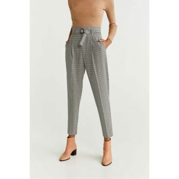 Women's Open / Pastel Gray Belt Straight Cut Pants 51033705