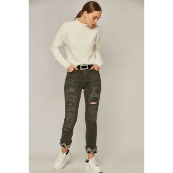 Women's Black Denim Trousers 10001 Y19W109-10001