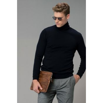 Men's Blace Full Turtleneck Pullover Navy Blue 112090035100200