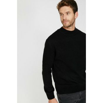 Men's Black High Neck Pullover 0KAM91744LT