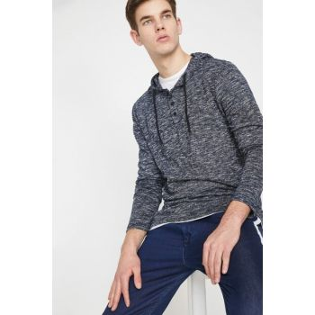 Men's Blue Hooded Sweater 9YAM91317NK