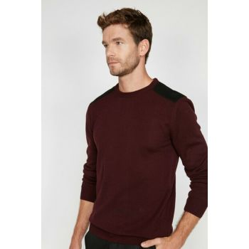 Men's Burgundy Crew Neck Pullover 0KAM91221LT