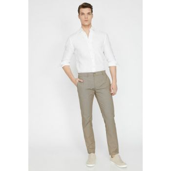 Men's Coffee Normal Waist Narrow Trousers