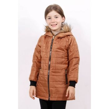 Girl's Hoodie Plush Detailed Coat 12153-
