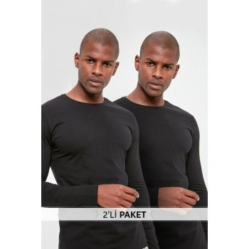 Black Men's 2-Pack Single Jersey Bike Neck New T-Shirt TMNAW20TS0248