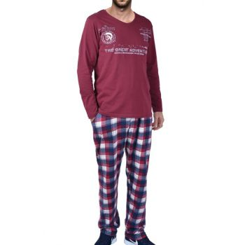 Men's Burgundy Long Sleeve Pajama Set 93183
