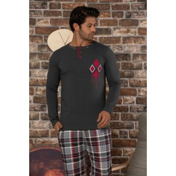 Men's Anthracite Printed Cotton Lycra Pajama Set 2464