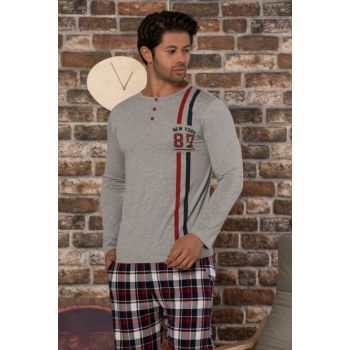 Men's Gray Melange Printed Cotton Lycra Sleepwear Suit 2470