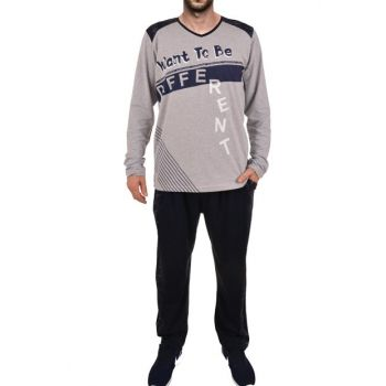 Men's Gray Long Sleeve Pajama Set 93173