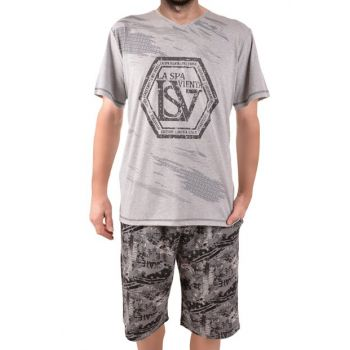 Men's Gray Shorts Pajama Set 93153