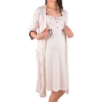 Ecru Pink Floral Maternity Nightgown Dressing Gown 2 Sets