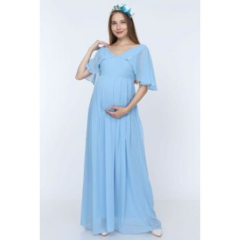 Angel Sleeve Maternity Dress Bebe Blue ML010100X