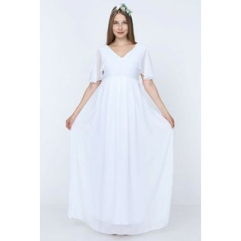 Angel Sleeve Maternity Dress White ML010100X