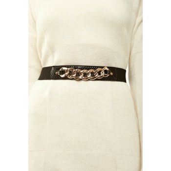 Women's Black Chain Stretch Belt ZK00211