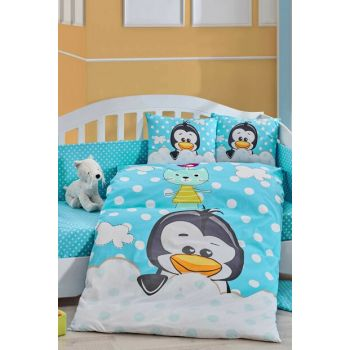 Ranforce Baby Duvet Cover Set Penguin Blue 33042