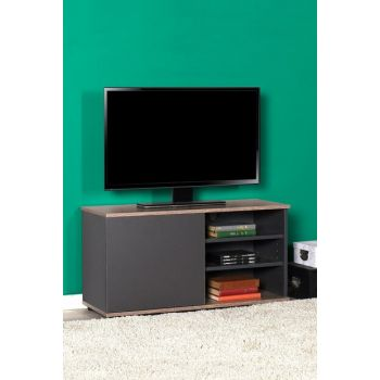 Flat Line Covered Three Compartment Tv Table - Latte / Anthracite TVC-310-LA-1