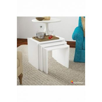Wooden 3 Piece Zigon Coffee Table Set White Ard301