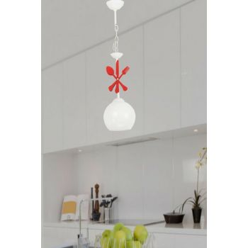 Cutlery Single Glass White Red Chandelier 701 0542 27 018