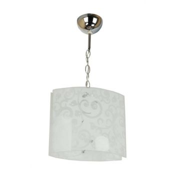 Engraved Single Glass Chrome (White) Chandelier 701 0017 00 099