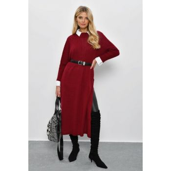 Women Burgundy Bat Sleeve Poncho YV28