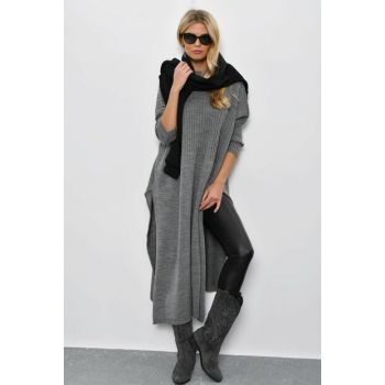 Women's Gray Bat Sleeve Poncho YV28