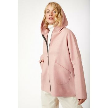 Women's Pink Hooded Stamp Poncho Coat BL00052