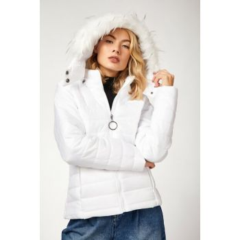 Women's White Furry Hooded Inflatable Coat DD00336