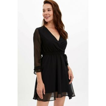 Women's Black Waist Belt Ruffle Detailed Long Sleeve Dress M7530AZ.19WN.BK27