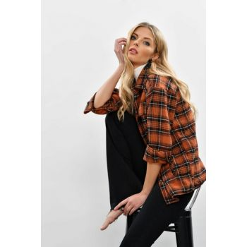 Women's Almond-Black Pockets Plaid Jacket SGT232