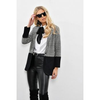 Women Ecru - Black Crowbar Plaid Jacket IS21361