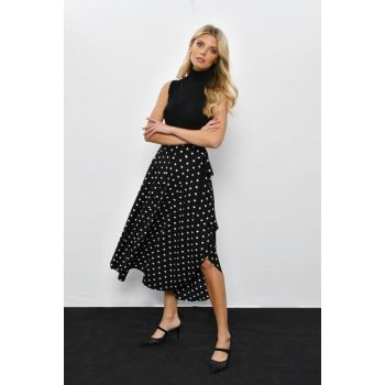 Women's Black Polka Dot Asymmetrical Skirt LV109