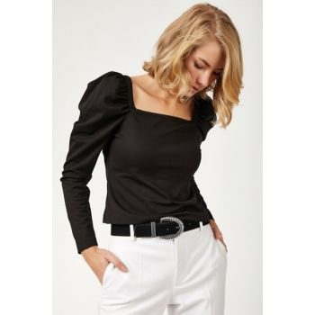 Women's Black Princess Sleeve Square Collar Blouse BL00095