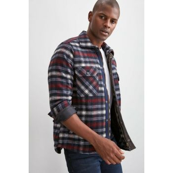 Navy Blue Men's Plaid Regular Shirt TMNAW20GO0045