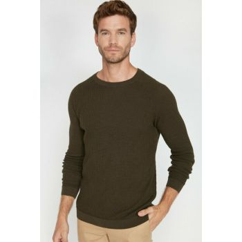 Men's Green Crew Neck Pullover 0KAM91068LT