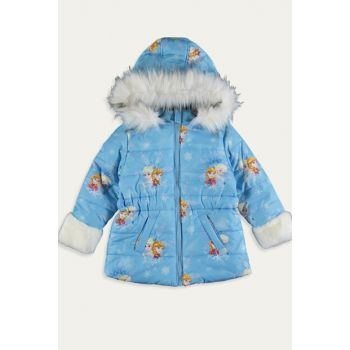 Girls' Blue Printed Lqq Coat 9WJ914Z4