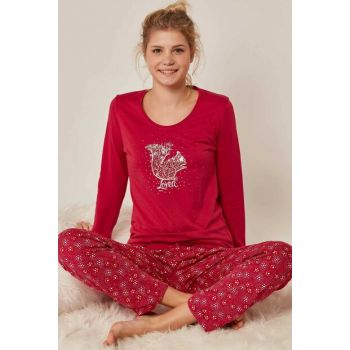 Women's Open Cherry Long Sleeve Pajama Set 704120 Y19W137-7041201165