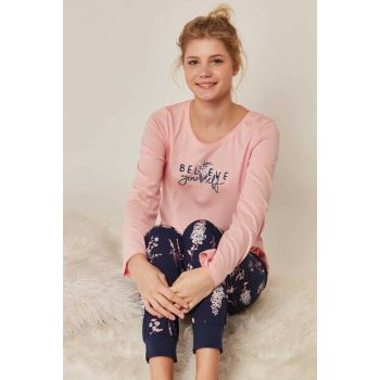 Women's Pink Long Sleeve Pajama Set 903291 Y19W137-9032917693