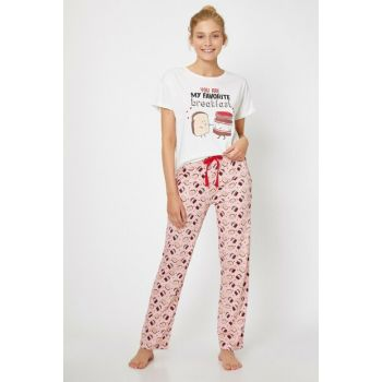 Women's Pink Printed Pajamas Set 0KLK79168MK