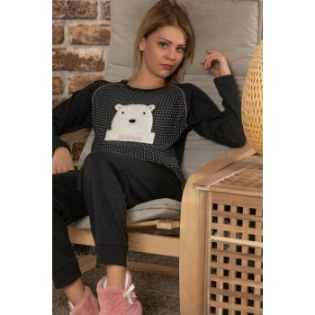 Women's Anthracite Cotton Welsoft Embroidered Long Sleeve Interlock Sleepwear Suit 22016