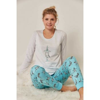 Women's Gray Long Sleeve Pajama Set 804283 Y19W137-8042833229