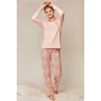 Women's Pink Long Sleeve Pajama Set 805004